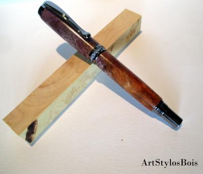 Stylo roller De Luxe, Haut de Gamme, en bois d'Amboine Stabilisé Violet