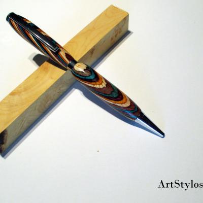 Stylo bille en bois de bois lamelés