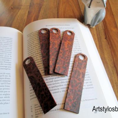 Marques pages, signet en bois de loupe de thuya du maroc