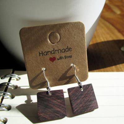 Boucles d'oreilles pendante, en bois de violette