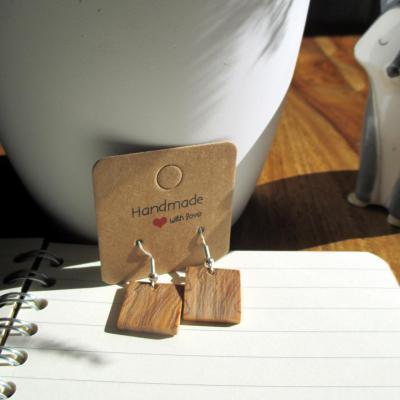 Boucles d'oreilles pendante, en bois d'olivier