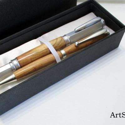 Parure de stylos en bois de Prunier