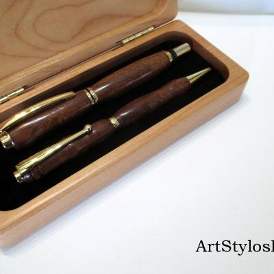 Parure de stylos en bois d'Angélique