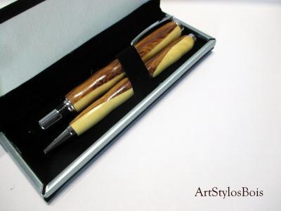 Parure de stylos en bois mélangés