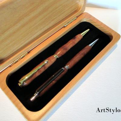 Parure de stylos en bois de Loupe d'Orme