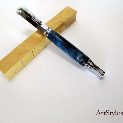 Stylo plume en bois de Loupe de Peuplier stabilisé bleu