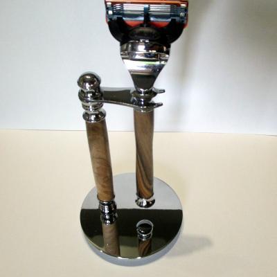 Ensemble rasoir présentoir Gilette Fusion en bois de Noyer