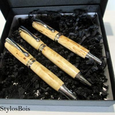 Parure Stylos Plume/Roller/Bille en bois de Bouleau Madré