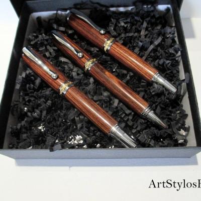 Parure Stylos Plume/Roller/Bille en bois de Violette