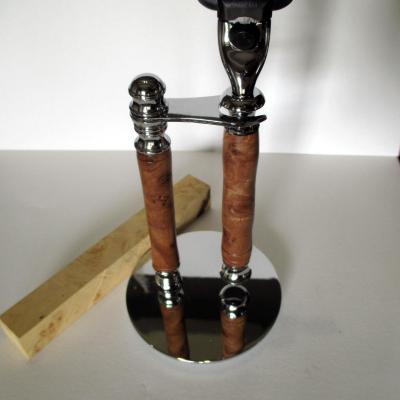 Ensemble rasoir présentoir Gilette Mach 3 en bois Loupe d'Orme