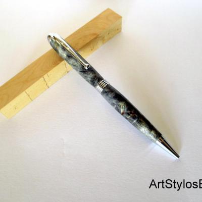 Stylo Bille en bois de Loupe de Peuplier stabilisé noir
