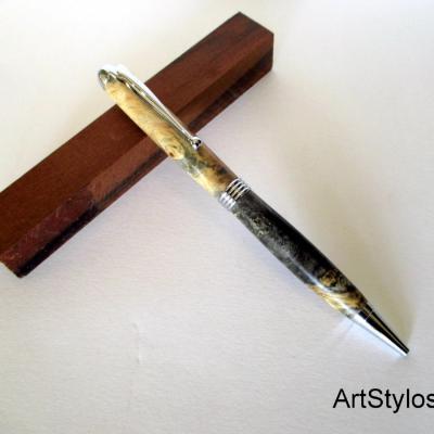 Stylo Bille en bois de Ronce de Buis Stabilisé