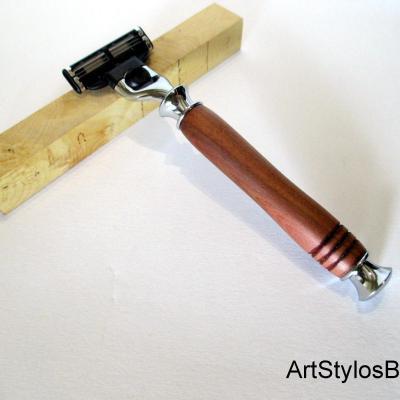 Rasoir Gilette Mach 3 en bois de Pommier