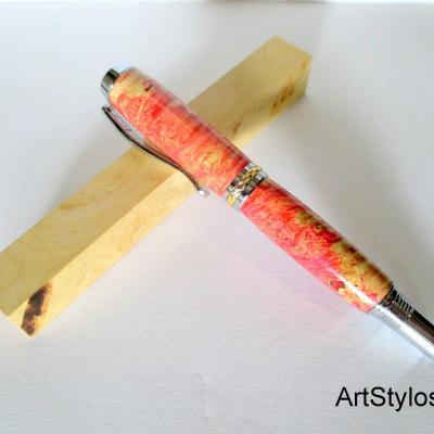 Stylo Roller en bois de Loupe de Peuplier Stabilisé Rouge