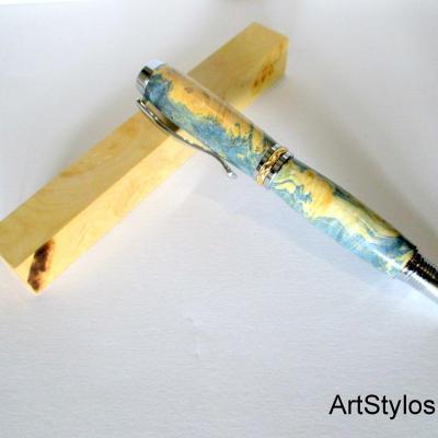 Stylo Roller en bois de Loupe d'Erable Negundo Stabilisé Bleu