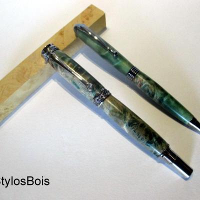 Parure Stylo Bille et Roller en bois de Loupe de Peuplier stabilisé vert