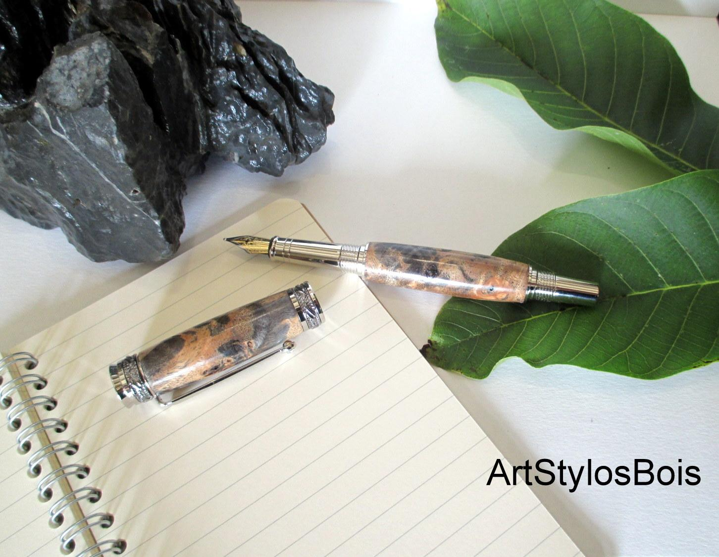 Stylo roller De Luxe, Haut de Gamme, en bois de Loupe de Peuplier Stabilisé Marron