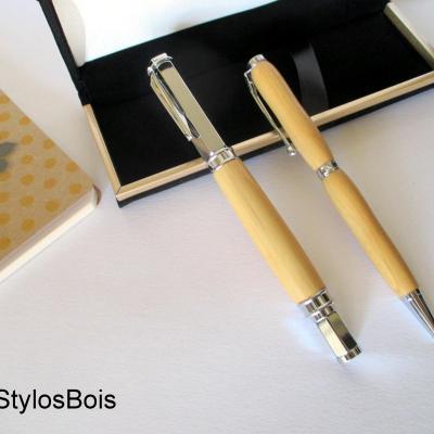 Parure de stylos en bois de Buis