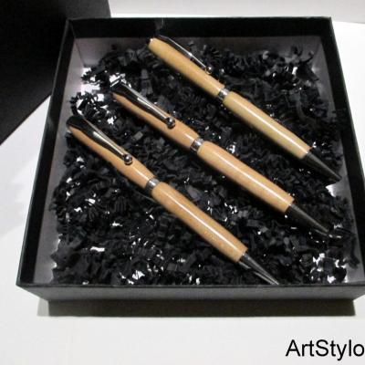 Parure de stylos en bois de Prunier, idéal cadeau familiale