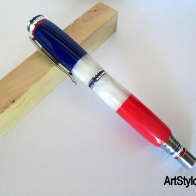 Stylo roller en résine Bleu, Blanc, Rouge, drapaux français
