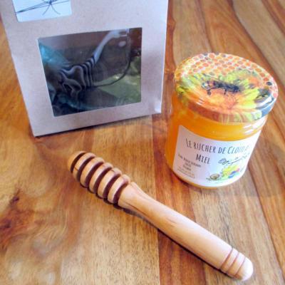 Box pot de miel et cuillère à miel artisanale