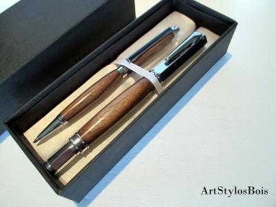 Parure de stylos en bois de Noyer