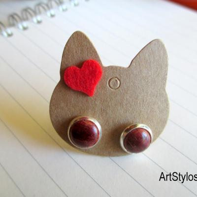 Boucles d'oreilles puces, en bois de rose