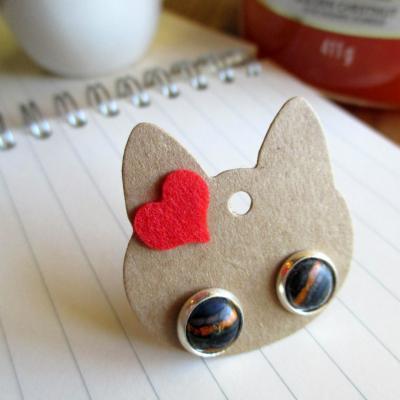 Boucles d'oreilles puces, en bois lamellés
