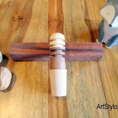 Bouchon de bouteille en bois d'orme et frêne