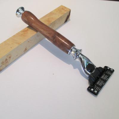 Rasoir Gilette Mach 3 en bois de Loupe d'Orme