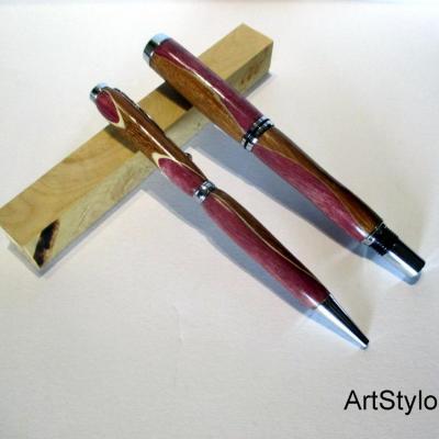 Parure de stylos en bois d'Amaranthe et Iroko